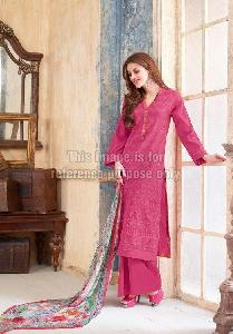 Printed Pink Straight Suit with Plazo