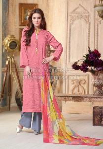 Stylish Pink Straight Suit With Plazo