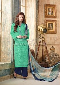 Green Straight Suit with Plazo