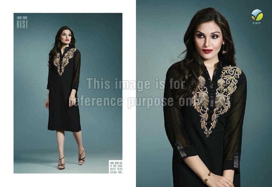 Designer Black Long Cape in Georgette with Embroidery