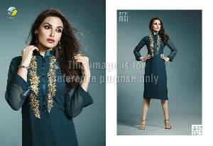 Embroidered Long Cape in Pure Georgette