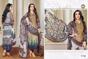 Designer Suit with Printed Chiffon Dupatta