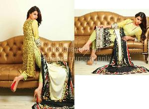 Pakistani Embroidered Suit with Chiffon Dupatta