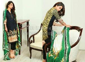 Lawn Cotton Pakistani Suit with Printed Chiffon Dupatta