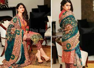 Embroidered Pakistani Suit with Printed Chiffon Dupatta