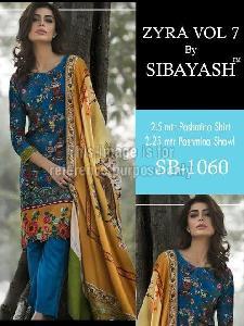 Blue Coloured Printed Pashmina Suit