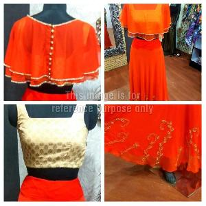 Orange Coloured Skirt And Blouse Combo