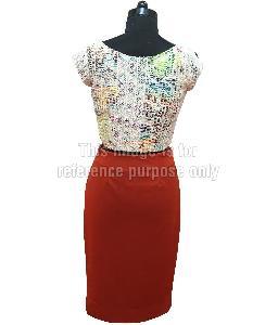 Multi-Coloured Net Top with Dark Orange Coloured Skirt