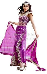 Purple Coloured Long Net Kurti With Dupatta