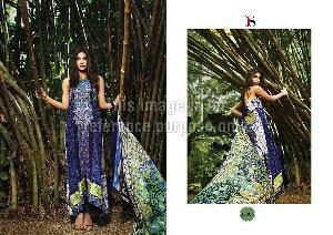 Blue Coloured Pure Pashmina Printed Suit