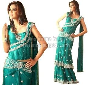 Mint Colored Lehenga with Stitched Blouse