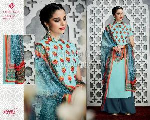 Light Blue Coloured Simple Printed Suit