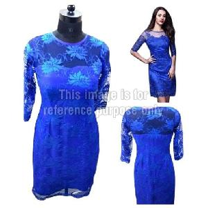 Blue Coloured Net Dress