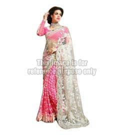 Pink Coloured Brocade & Net Sari with Blouse