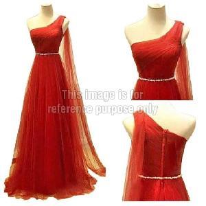 One-Shoulder Red Coloured Net Dress