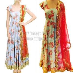 Floral Print Anarkali Suit with Red Coloured Dupatta