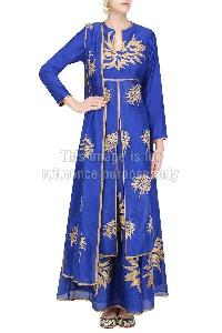 Blue Coloured Long Suit with Skirt & Dupatta