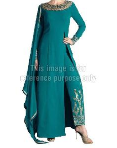 Teal Blue Coloured Long Suit with Embroidered Pant