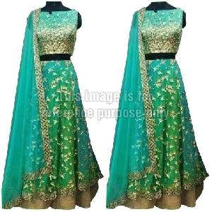 Pigment Green Colored Lehenga with Blouse and Dupatta