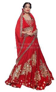 Red Colored Lehenga Saree with Blouse