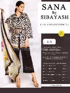 Printed Satin Shirt With Silk Dupatta