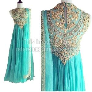 Sea Green Colored Anarkali Suit with Dupatta