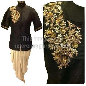 Black Colored Kurta with Cream Colored Dhoti