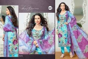 Printed Sky Blue & Purple Coloured Suit With Dupatta