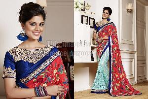 Multi-Coloured Designer Saree With Blouse