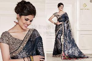 Black Coloured Printed Designer Saree