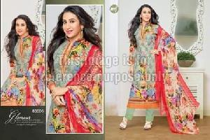 Olive Coloured Floral Printed Suit With Dupatta