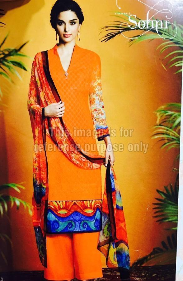 Orange Coloured Printed Suit With Dupatta