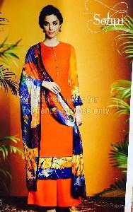 Orange Coloured Simple Suit With Printed Dupatta