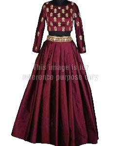 Mehroon Colored Skirt with Embroidered Crop Top
