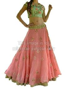 Embroidered Blouse with Pink Colored Lehenga and Dupatta