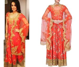 Orange Coloured Floral Printed & Embroidered Anarkali Suit
