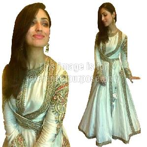 Cream Colored Anarkali Suit with Patch Work