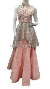 Peach Colored Skirt with Flared Silver Top