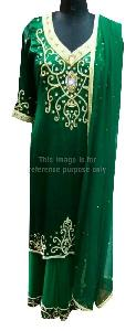 Dark Green Colored Long Suit with Matching Palazo and Dupatta