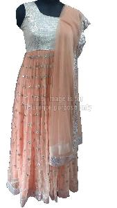 Peach Coloured Net Suit with Dupatta