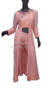Peach Coloured Front Cut Dress with Pant