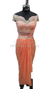 Peach Coloured Indo-Western Dhoti Style Dress