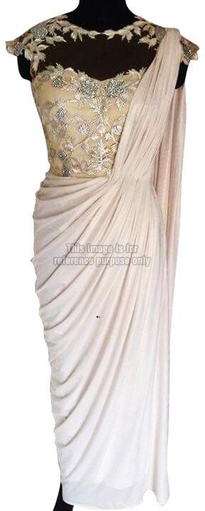 Shimmery Cream Coloured One-Piece Indo Western Dress