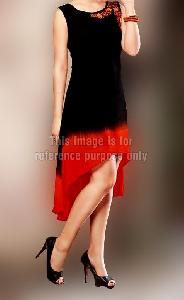 Tail Style Black Orange Kurti