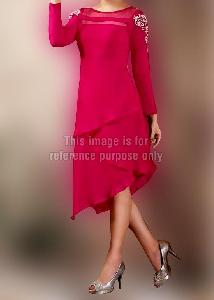 Designer Hot Pink Full Sleeves Kurti