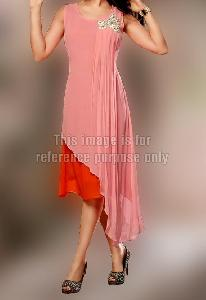 Dual Colored Stylish Side Cut Kurti