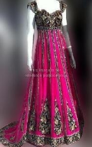 Heavy Work Majenta Black Floor Touch Dress with Dupatta