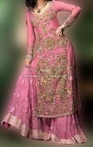 Heavy Rose Pink Full Sleeves Dress