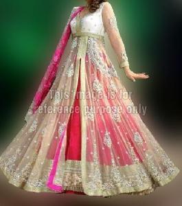 Elegant Net Frill Dress with Dupatta