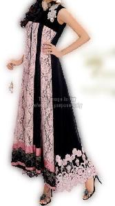 Pink Black Jali Work Dress